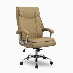 เก้าอี้ผู้บริหาร รุ่น Chanel Brown สีน้ำตาล ดีไซน์หรู เบาะหุ้มหนัง PU  เหมาะสำหรับผู้บริหารยุคใหม่ เบาะกว้าง นุ่มสบาย เสริมด้วยพ็อกเก็ตสปริง