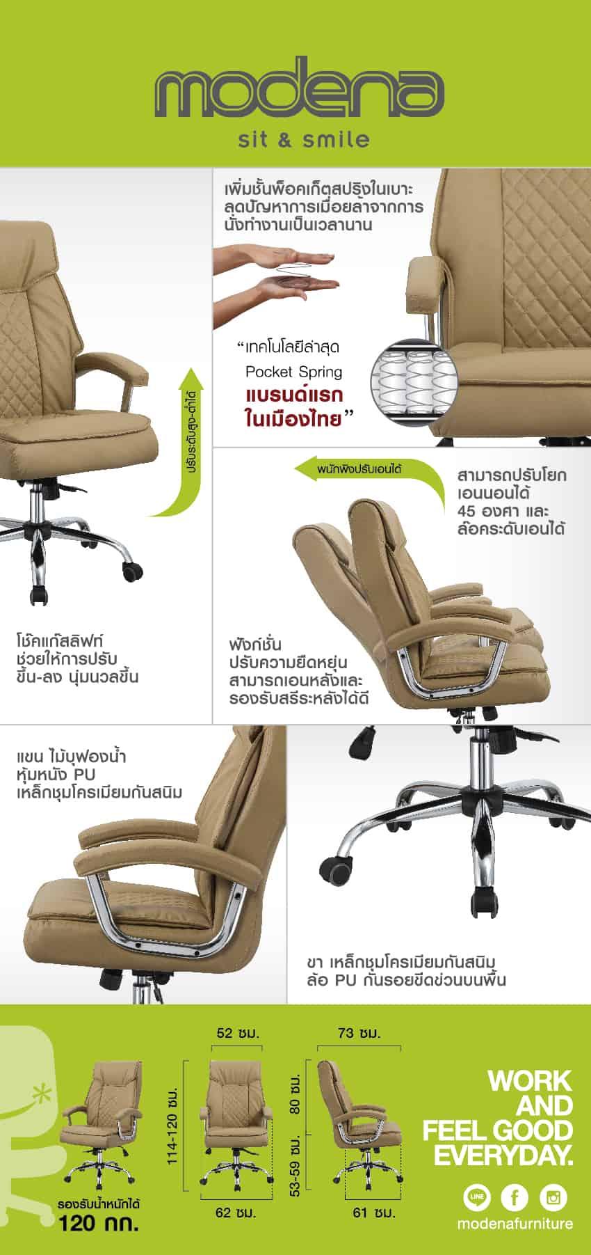 ข้อมูลสินค้า เก้าอี้ผู้บริหาร รุ่น Chanel Brown