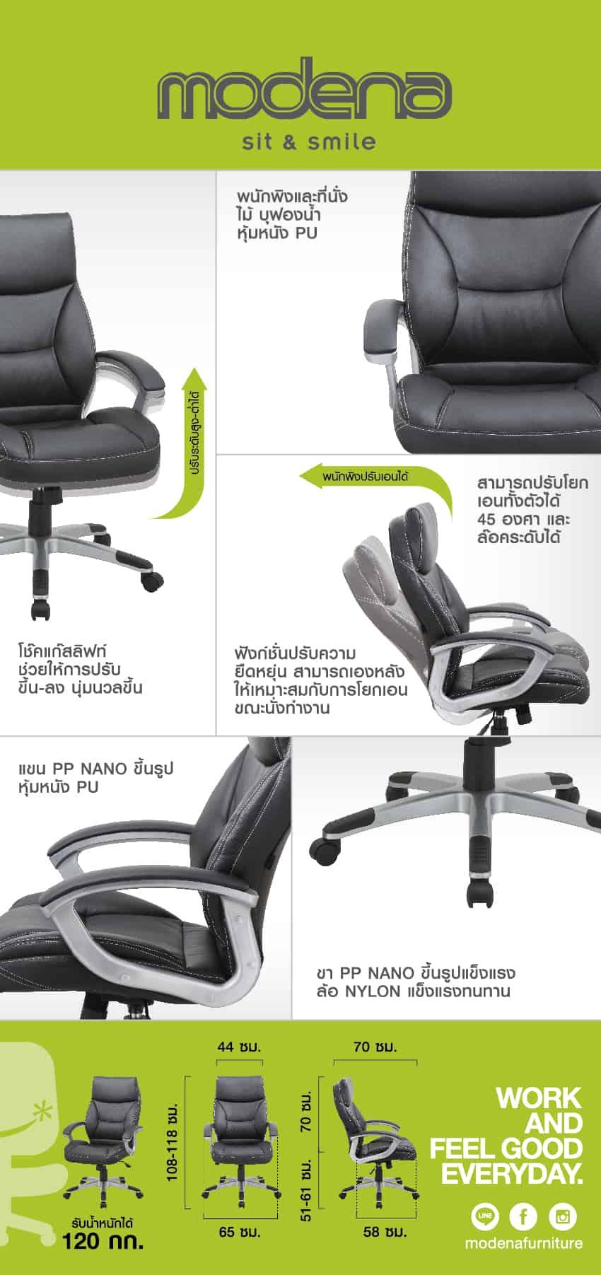 ข้อมูลสินค้า เก้าอี้ผู้บริหาร รุ่น Resto