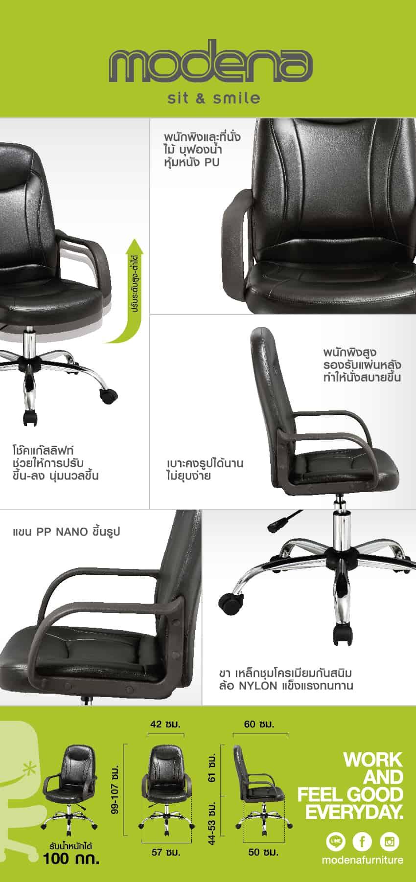 ข้อมูลสินค้า เก้าอี้สำนักงาน รุ่น Nikko