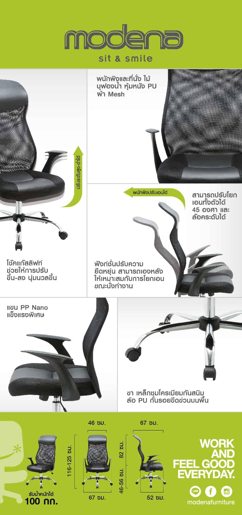 ข้อมูลสินค้า เก้าอี้ผู้บริหาร รุ่น Rio