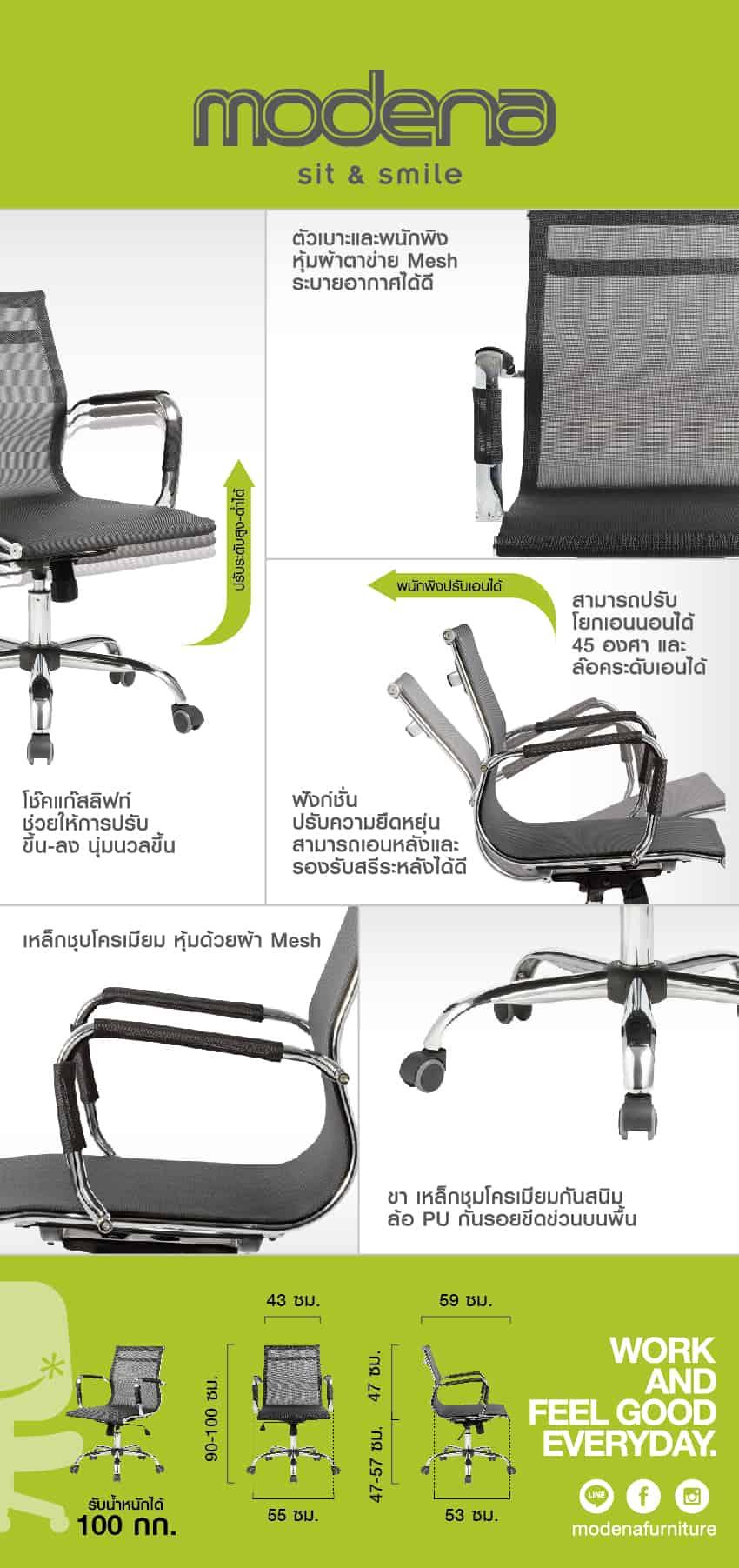 ข้อมูลสินค้า เก้าอี้สำนักงาน รุ่น Slim Mesh L